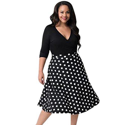 Streetwear Kleid VENMO Damen Festliche elegant Kleid Plus Size Damen Knielang Retro V-Ausschnitt Höhe Taille (XL, Black 2) Plus Size Kleid Form