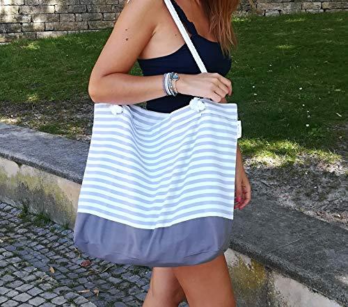 Strandtasche, grau und weiß mit Streifen, Tasche, große Strandtasche, ein ideales Geschenk für sie, Seil-Cord-Verschluss, portugiesische Marke