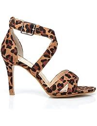 ShuWish UK  Sophie Damen Sandalen mehrfarbig leopardenmuster