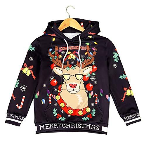 HUBINGRONG Weihnachten Anime Kostüm Hoodies Sweatshirts Tops Hosen Hosen Punk Hip Hop Street Festival Schwarz Elch Bell Kinder Pullover Zweiteiler (Color : Hoodie, Size : S)
