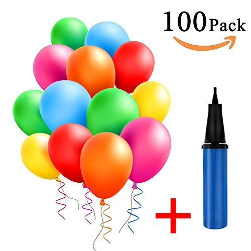 GantPower 100 Luftballon und 1 Ballonpumpe, Ballon und Luftpumpe, Luftballon, Partyballon, Farbige Ballons, Bunte Ballons für Halloween, Weihnachten, Geburtstagsfeiern, Party, Hochzeitsfeiern