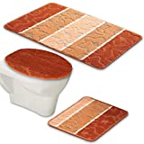 BADGARNITUR ORION 3-TEILIG BADMATTE, BAD SET TERRACOTTA HÄNGE WC