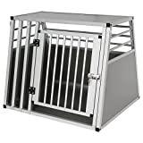 EUGAD Hundebox Hundetransportbox Transportbox Alubox Aluminium Alu Box 1 Türig Reisebox Gitterbox Silber...