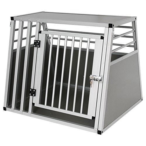 Hundebox Hundetransportbox Transportbox Alubox Aluminium Alu Box 1 Türig Reisebox Gitterbox Silber...