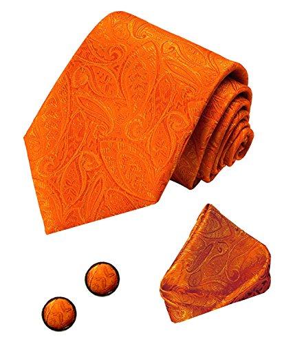 LORENZO CANA 3 teiliges Set aus 100% Seide - orangefarbenes Krawattenset mit Manschettenknöpfen und Einstecktuch 8436305