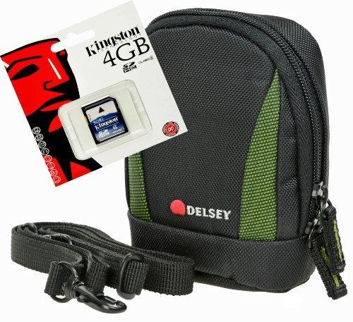 Foto Tasche - Kamera Bag DELSEY DELPIX II 105 grün Tasche im Set mit 4 GB SD K.