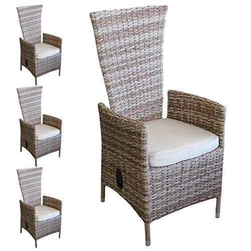 Lagerräumung - 4 Stück Polyrattan Sessel Rattansessel Relaxsessel Rückenlehne stufenlos verstellbar Nature + Sitzkissen Beige Gartensessel