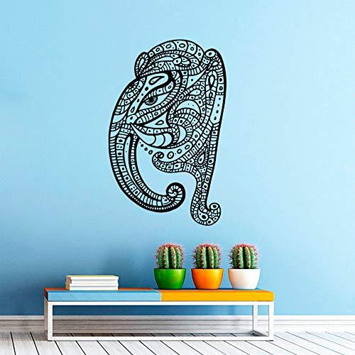 Gemusterte Wandaufkleber Startseite Zimmer Religiöse Dekorative Vinyl Wandtattoos Wandbild Bohemian Elephant Head 57X98cm ()