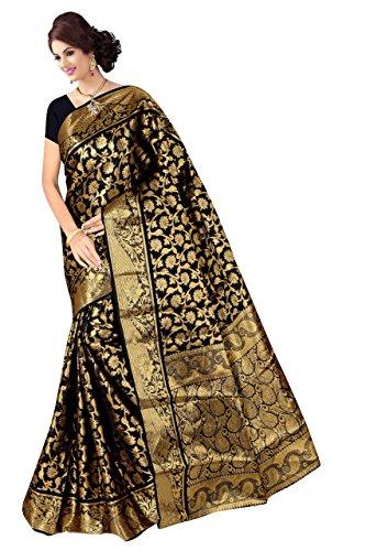 Boutique On Palm Bollywood Style New Generation Concept Party Wear Saree Banarasi Silk Sarees (Black Jacquard Mango Pallu Vadi Velo Pannel Concept)