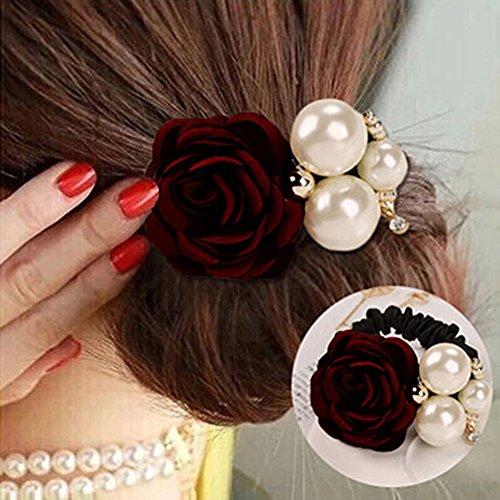 Makwes Lady Girl Chic Sweet Rose Blume Faux Pearl Stirnband Pferdeschwanz Inhaber Haarband,Haargummis für Mädchen Damen Lady, Haarschmuck, Beauty Haarband Grün -