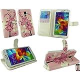 Emartbuy® Samsung Galaxy S5 Brieftaschen Wallet Etui Hülle Case Cover aus PU Leder Rosa Blossom mit Kreditkartenfächern