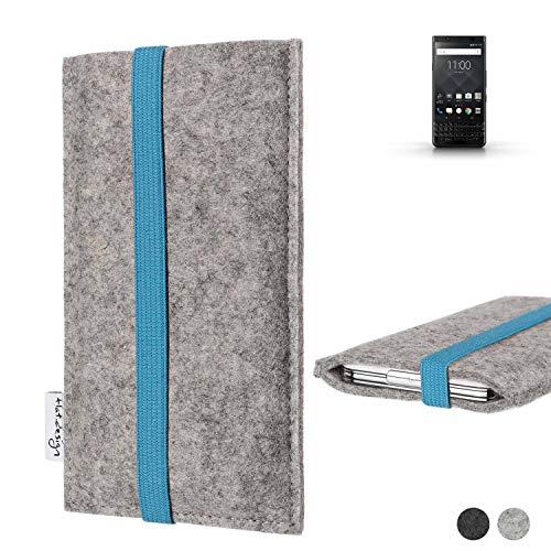 flat.design Handy Hülle Coimbra für BlackBerry KEYone Black Edition - Schutz Case Tasche Filz Made in Germany hellgrau türkis