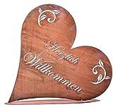 Rostikal | Garten Deko Herz Rost, Herzlich Willkommen Edelrost Metall Türschild Tisch Deko 45 cm Höhe 42 cm Tiefe 11 cm