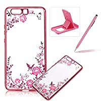 For Huawei P10 Rubber Case Cover,For Huawei P10 Clear Case Rhinestone Soft TPU Back Cover With Bling Glitter Design,Herzzer Luxury Elegant (Rose Gold) Electroplate Plating Bumper Frame [Pink Flower Pattern] Crystal Soft Gel Silicone Flexible Shell Protect