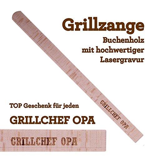 Grillzange Aus Holz Mit Hochwertiger Gravur Grillchef Opa