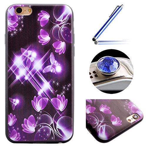 Etsue pour iPhone 7 Plus(5.5 Pouce) Coque de Téléphone,Mode Doux TPU Case Housse pour iPhone 7 Plus(5.5 Pouce),Sur Fond Noir [La tour] Motif Soft Silicone Case étui shell pour iPhone 7 Plus(5.5 Pouce) Papillon Pourpre