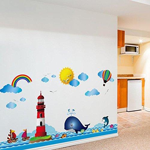 kuamai Cartoon Meer Leuchtturm Graphic Wall Sticker Für Kinder Zimmer Home Dector