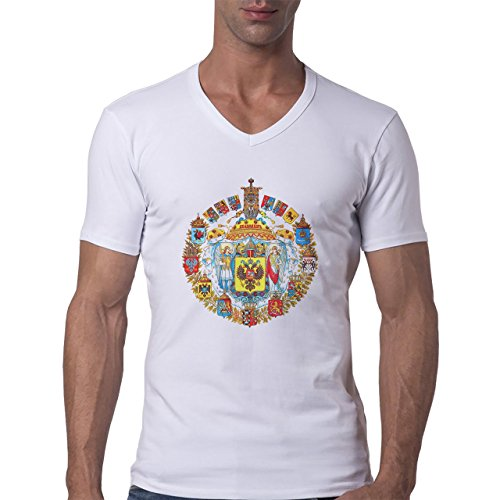 Russia Country Symbol Put In Logo Eagle Herren V-Neck T-Shirt Weiß