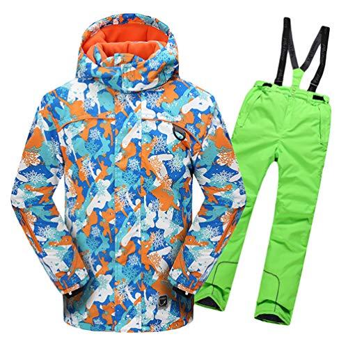 Lvguang Jungen & Mädchen Berg Wasserdicht Warm Skibekleidung Winddicht Regen Schnee Kapuzenjacke & Skihose (Grün#1, Asia L)
