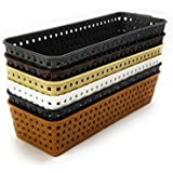 CSM Delhi for Multi Storage Reqtangle Basket - Pack of 6 in Assorted Colors