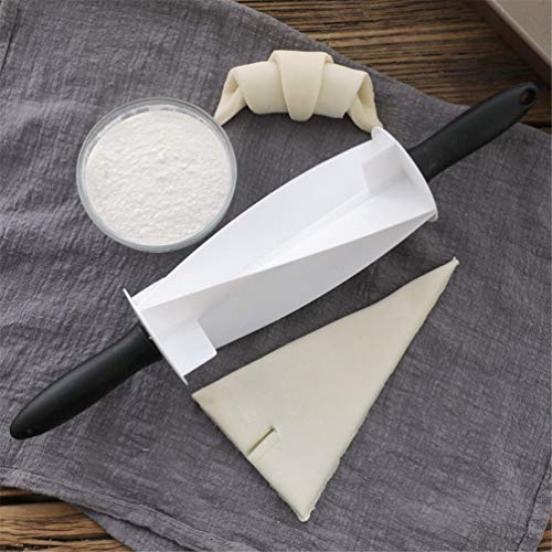 Wenwenzui Croissant Rolling Non-Stick Cutter Cake Dough Roller Baked Croissants White Grip Non Stick Rolling Pin