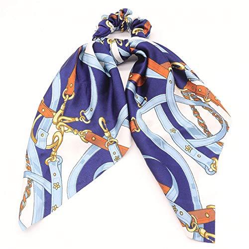 ZSGCHAIR Haar Haargummi Schal Scrunchies Diagonale Streifen Dickdarmring Haarband Haarschmuck Kette Blau - Blau Diagonale Streifen-krawatte