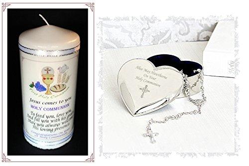 Erstkommunion Personalisiertes Geschenk Schmuckdose in Herzform + Rosenkranz Perlen und Kerze