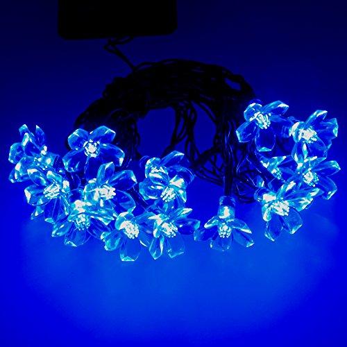 Smartfox 50er LED Solar Blumen Lichterkette in Blau
