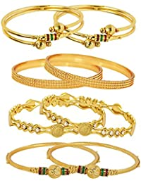 Jewels Galaxy Combo Of Designer Victoria Bangles, And Trendy Gold Plated Bangles - Pack Of 8