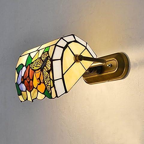 farfalle colorate di fiori di vetro posti letto Camera da Letto Lampade da parete in metallo corridoio corridoio porticato Lampade da parete a specchio lampade anteriore con interruttore a corda - Farfalla Del Cerchio
