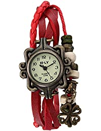Naivo Women's Quartz Brass Plated Stainless Steel and Leather, Color Red (Model: WATCH-1185)