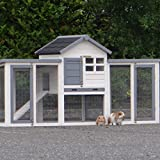 Animalhouseshop.de Kaninchenstall Advance Doppel Weiss grau 185x62x93cm
