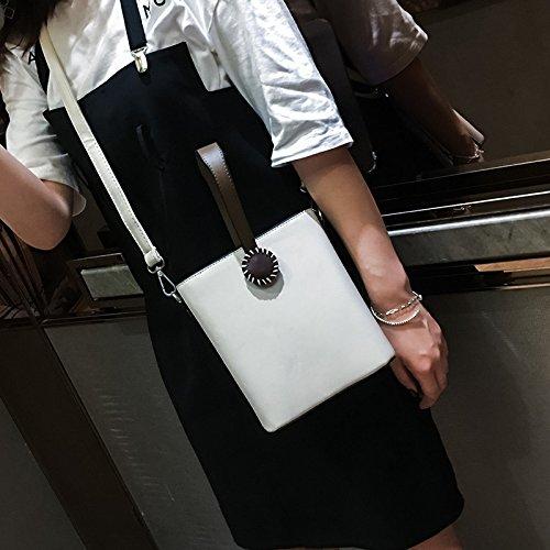 Sprnb La Nuova Moda Estate Borsetta Borsetta Semplice Popolare Pulsante Retrò Tutti-Match Borsa A Tracolla Messenger Bag,Nero White