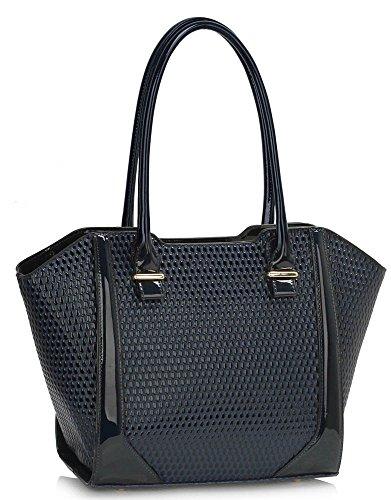 LeahWard® Damen nett Groß / Übermaß Schultertaschen Damen Tote Essener-Tasche Käufer Handtaschen 00473-Marine (32x14x30.5cm)