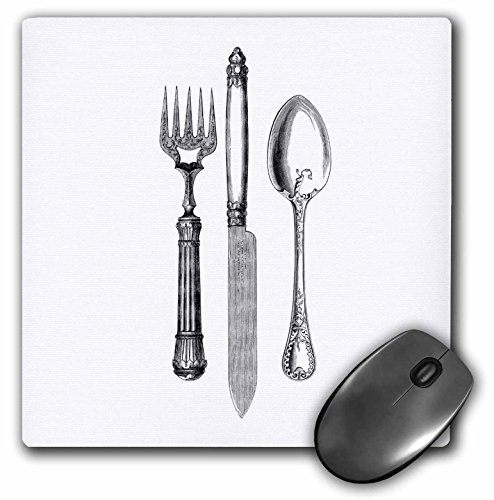 3dRose 8 x 8 x 0 25 Inches Black and White Vintage Cutlery Set Fancy Fork Knife and Spoon Drawing Restaurant Kitchen Chef Mouse Pad (mp_161556_1) Kitchen Fork