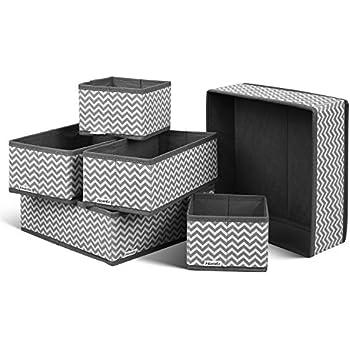 Hoseejoy 6 St/ück Aufbewahrungsbox Stoff Set faltbar Unterw/äsche Socken Organizer Ordnungsbox Faltbox Stoffbox f/ür Schubladen Ordnungssystem grau