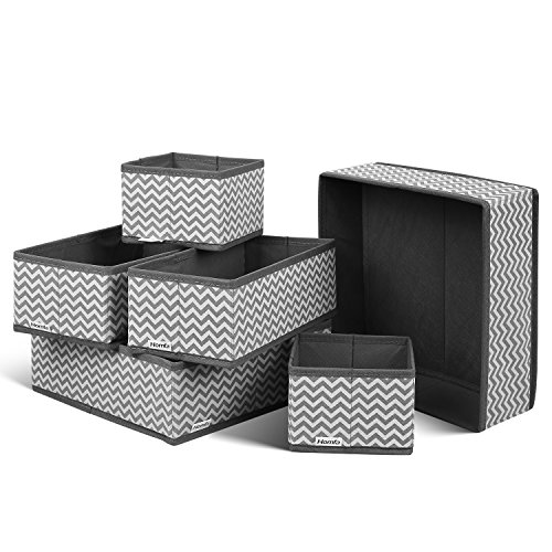 Homfa 6 Stück Aufbewahrungsbox Stoff Set faltbar Unterwäsche Socken Organizer Ordnungsbox Faltbox Stoffbox für Schubladen Ordnungssystem grau -