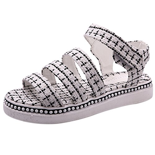Oasap Women's Open Toe Flat Platform Velcro Sandals White