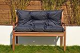 Cristal Gartenbankauflage Bankauflage Sitzpolster Bankkissen Sitzkissen und Rückenkissen Polsterauflage leicht zu reinigen (110 cm, Navy)