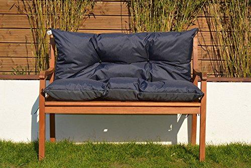 Gartenbankauflage Bankauflage Sitzpolster Bankkissen Sitzkissen und Rückenkissen Polsterauflage leicht zu reinigen 150 cm (Navy)