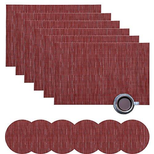 Desun Set von 6Platzsets und Untersetzern Waschbar Wärmedämmung Rutschfeste Gewebtes Vinyl Tisch Matten für Küche und Esszimmer Weinrot (Tisch Matten Set 6)
