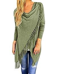 ABCone-Donna Pullover [S-3XL] Felpa Cardigan lavorato a maglia con girocollo nappa T-Shirt Maniche Lunghe Elegante Autunno Camicette Camicie Casual Tops