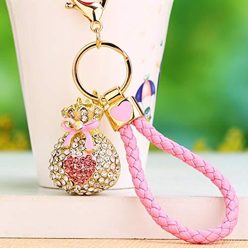 Herzförmiger Tasche (dfhdfsg Strass Kristall Kleine Liebe Herzförmige Auto Schlüsselbund Weiblich Männlich Niedlich Kreative Tasche Anhänger Schlüsselanhänger Ring Durch Liebe Segen Tasche Rosa)