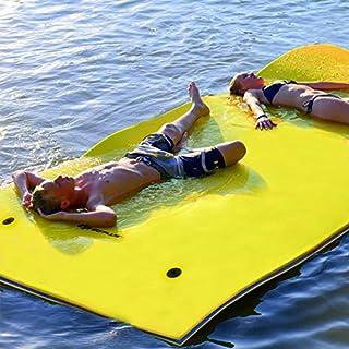 COSTWAY Wasserhängematte Wasserliege Schwimmmatte Schwimmfloß, Schwimmender Teppich 270 x 180 x 3,5cm, Schwimmende Wasser Bett Farbewahl (Gelb)