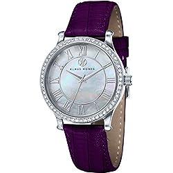Klaus Kobec KK-10003-03 Ladies Lily Silver Tone Watch with Swarovski Crystal Bezel