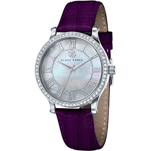 Klaus Kobec KK-10003-03 Ladies Lily Silver Tone Watch with Swarovski Crystal Bezel