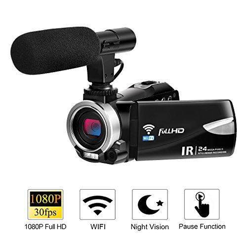 Camcorder Videokamera 1080p30 @ Full HD Wifi Kamera 24,0 MP Kamera 3 Zoll LCD Touchscreen Video...