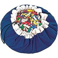 Preisvergleich für Gaocheng Kinder 2-in-1-Spielzeug Aufbewahrungstasche & Play Mat–Großes Spielzeug Aufbewahrungstasche Organizer & Play für Kleinkinder und Kinder Blau