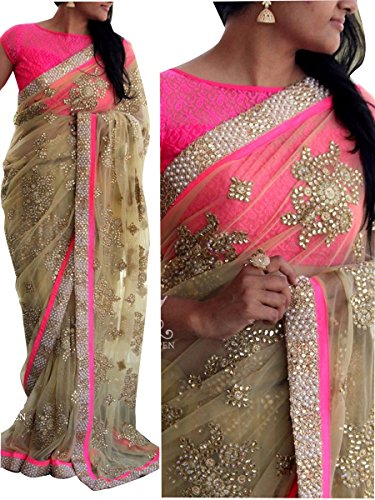 Party Wear Saree( By Design Women\'s Net Saree With Net Blouse )