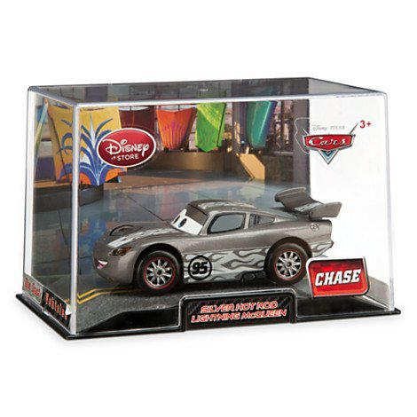 "Image of Disney Pixar Cars Exclusive 1:43 Die Cast Car Lightning McQueen Silver Hot Rod ""Chase"" (Disneystore exclusive) - limited edition"